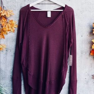 Sweaters - Thermal waffle plum Vneck long sleeve sweater